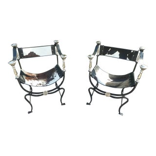 Natural Cowhide Wrought Iron and Chrome Savonarola Chairs- A Pair For Sale