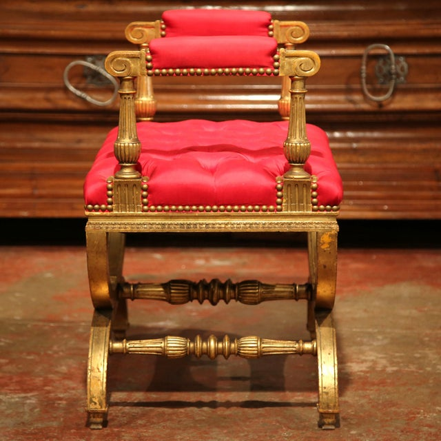 Gold 19th century French Napoleon III Carved Giltwood Dagobert Stool with Red Silk For Sale - Image 8 of 8