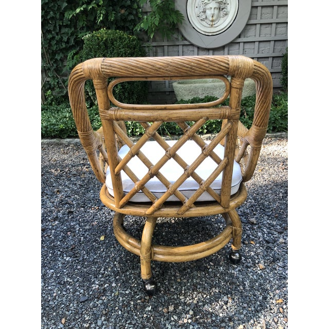 Mid-Century Franco Albini Style Rattan Swivel Dining Chairs - Set of 6 For Sale In New York - Image 6 of 12