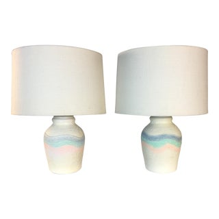 Ceramic Multi-Colored Table Lamps - A Pair