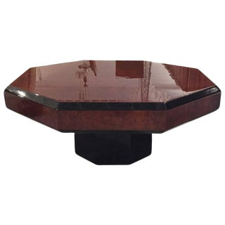 French Art Deco Octagonal Burl Coffee table For Sale