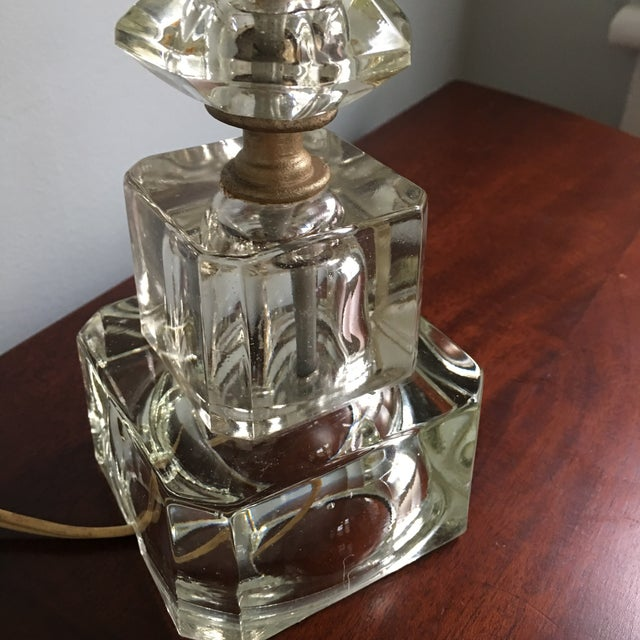 Art Deco Vintage Hollywood Regency Stacked Crystal Lamp With Shade For Sale - Image 3 of 5