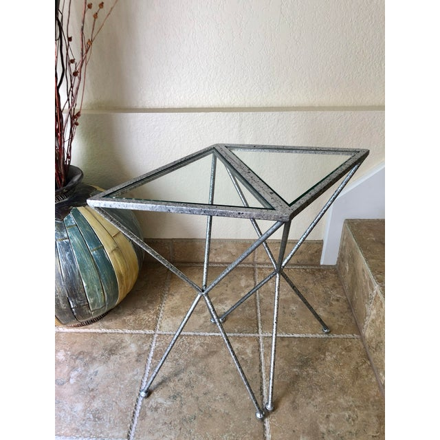 Uttermost Modern Iron & Tempered Glass Tripod Accent Tables - a Pair For Sale - Image 12 of 13