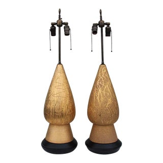 1950s Large Modern Gold Table Lamps Attributed to Marbro - a Pair For Sale