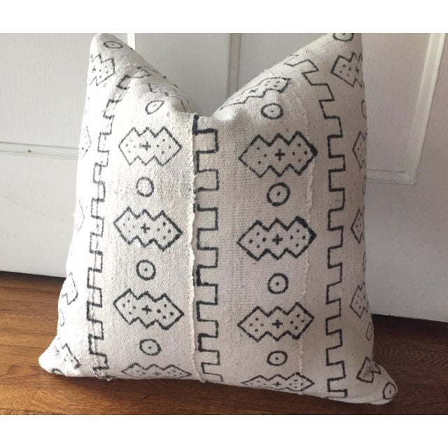 Boho Chic White African Mudcloth Pillow Cover - Image 3 of 10
