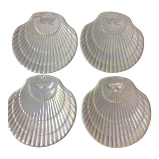 Shell Iridescent Ceramic Plates - Set of 4