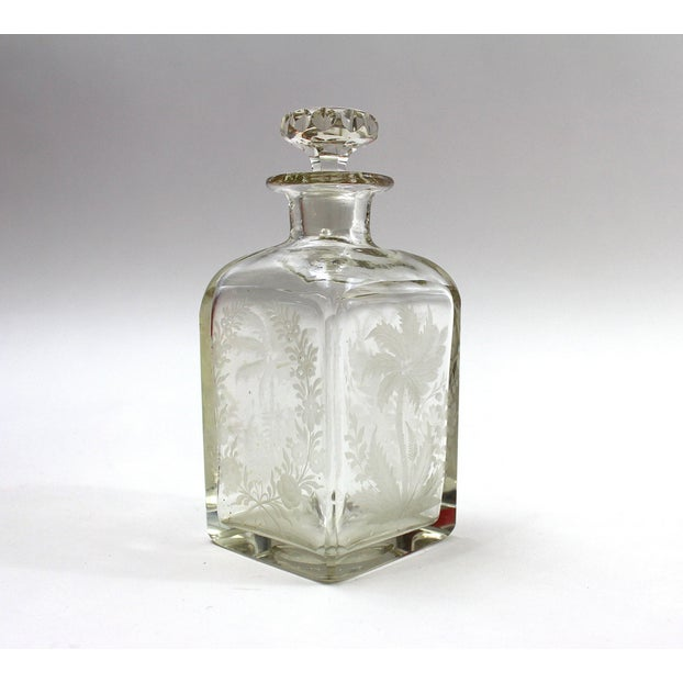 Antique 1910s Etched Crystal Perfume Bottle - Image 3 of 5