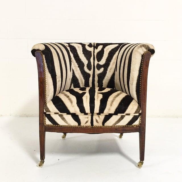 Vintage 1930s Barrel Chair in Zebra Hide - Image 11 of 11