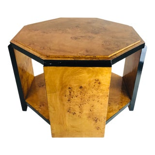 Burl Wood Hexagonal Table For Sale