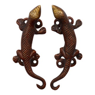 Red Brass Lizard Door Handles - a Pair For Sale