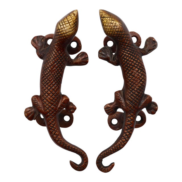 Red Brass Lizard Door Handles - a Pair For Sale