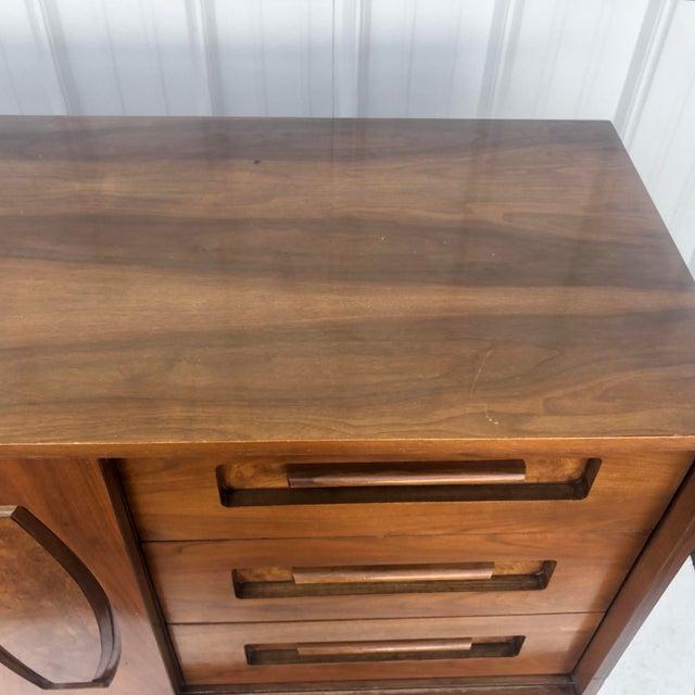 Brown Mid-Century Modern Sliding Front Highboy Dresser For Sale - Image 8 of 13