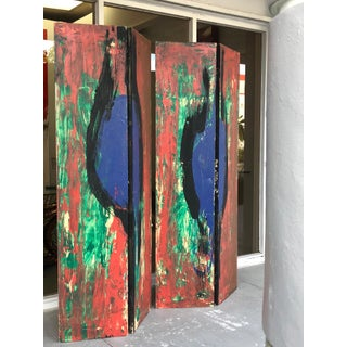 Lecewicz Abstract Expressionist Folding Screen Room Divider Preview