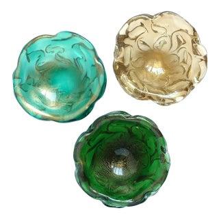 Seguso Vetri d'Arte Murano Gold Flecks Coral Design Italian Art Glass Ring Bowls - Set For Sale