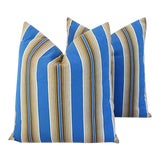 """Image of 22"""" Custom Tailored Blue & Tan French Ticking Feather/Down Pillows - a Pair For Sale"""