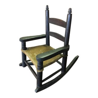 Mid 19th Century Primitive Child's Ladder Back Rocking Chair For Sale