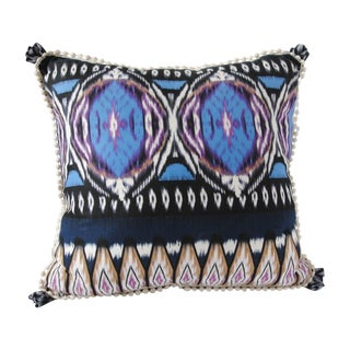 Custom Ikat Pillow with Trim For Sale