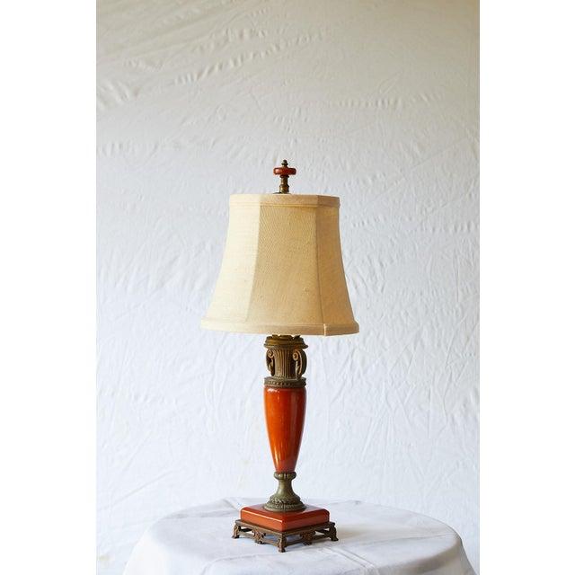 Petite Art Deco Lamp of Orange Bakelite For Sale - Image 4 of 13