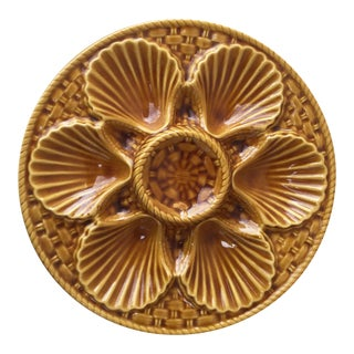 1950s Vintage Longchamp Yellow Majolica Oyster Plate For Sale