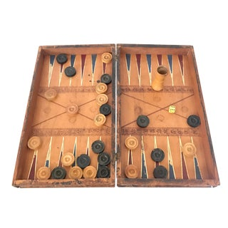 Backgammon Set of Faux Book Form For Sale