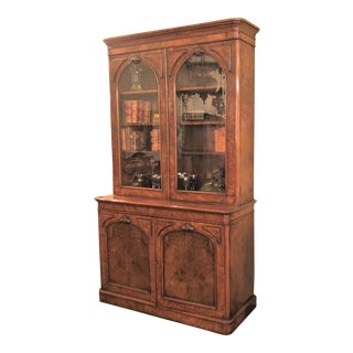 Antique English Victorian Burled Walnut Bibliotheque, Circa 1880. For Sale