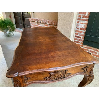 Antique French Country Carved Oak Writing Library Desk Preview