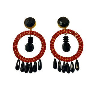 Vintage Contemporary Architectural Red Hoop Statement Earrings For Sale