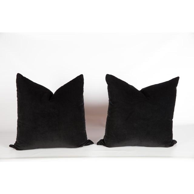 Hollywood Regency Black Velvet Greek Key Pillows, a Pair For Sale - Image 3 of 5