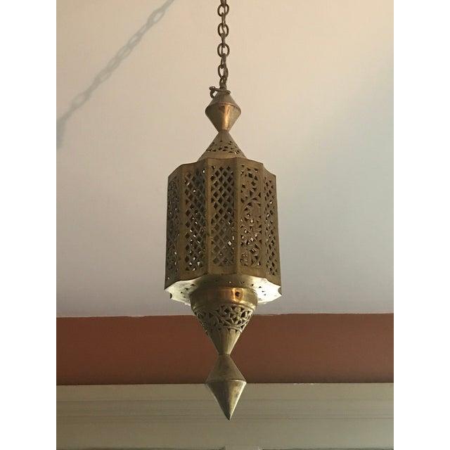 Brass Moroccan Pierced Brass Lantern For Sale - Image 8 of 8