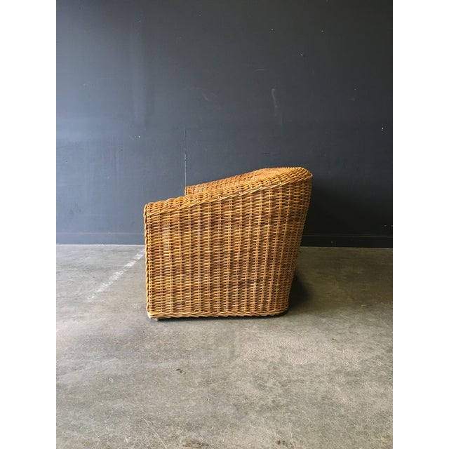 Michael Taylor Vintage Mid-Century Modern Wicker Sofa For Sale - Image 4 of 12
