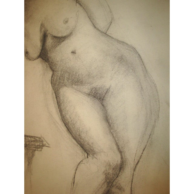 1910-20's Nude Female Charcoal Sketch Studio Portrait For Sale - Image 4 of 8