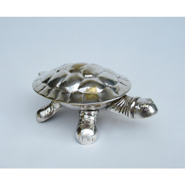 Vintage Silver Plate Lidded Turtle Keepsake Box For Sale - Image 13 of 13