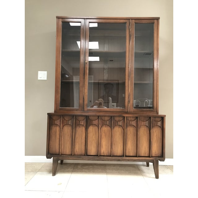 Mid Century Modern Kent Coffey Perspecta Walnut and Rosewood China Hutch Credenza For Sale - Image 10 of 10