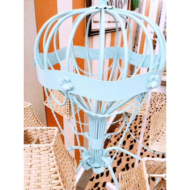 Stunning MM Lampadari Italian made Large Palm beach regency Hot air balloon chandelier in a stunning high gloss pale blue...