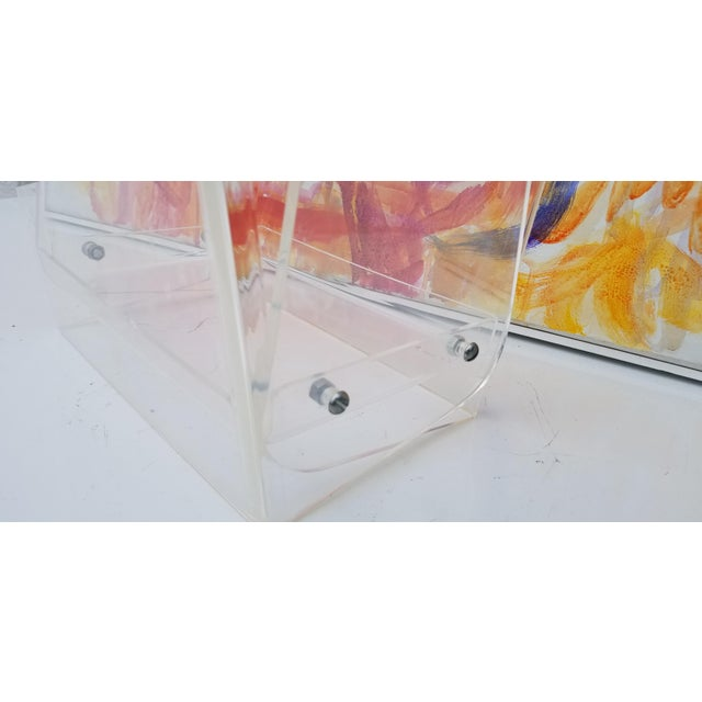 Oversized Lucite Magazine Holder / Waste Basket For Sale In Miami - Image 6 of 11