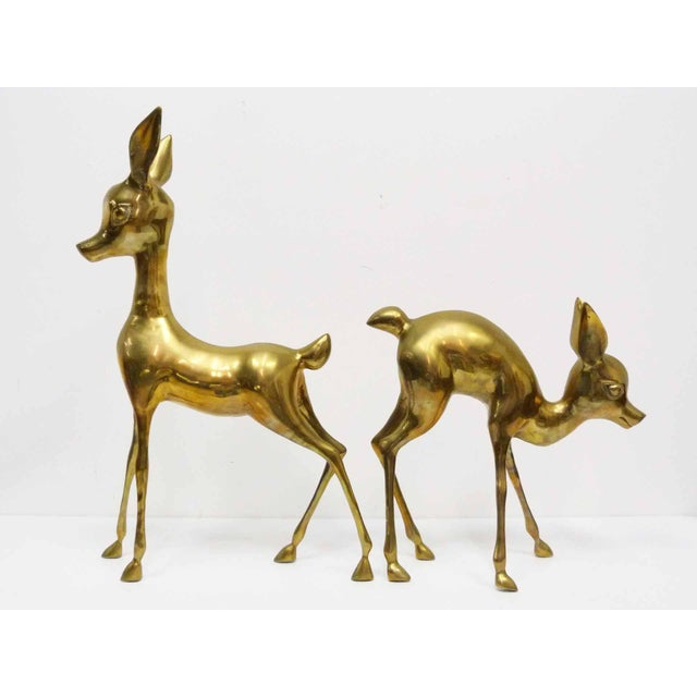 Vintage Brass Deer Floor Figures- Set of 2 For Sale - Image 4 of 7