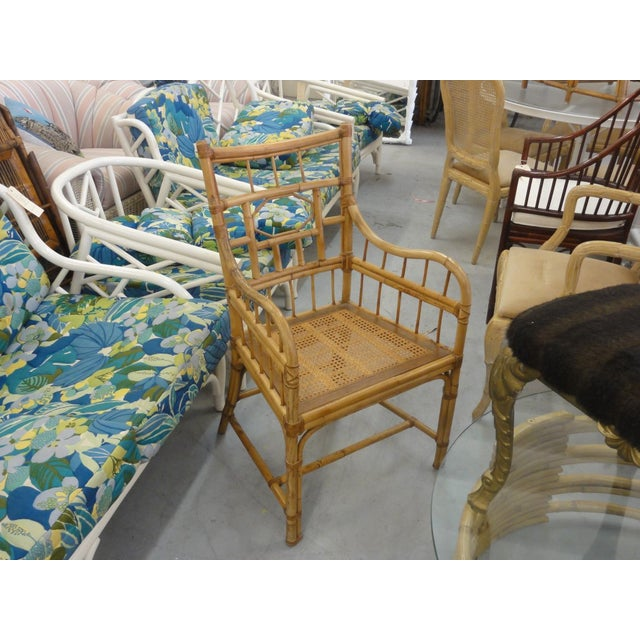Brown Vintage Geometric Bamboo & Cane Dining Chairs - Set of 8 For Sale - Image 8 of 12