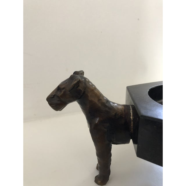 This lovely little marble dish with pot metal dogs finished to look like bronze has a charm all it's own with 3 little...