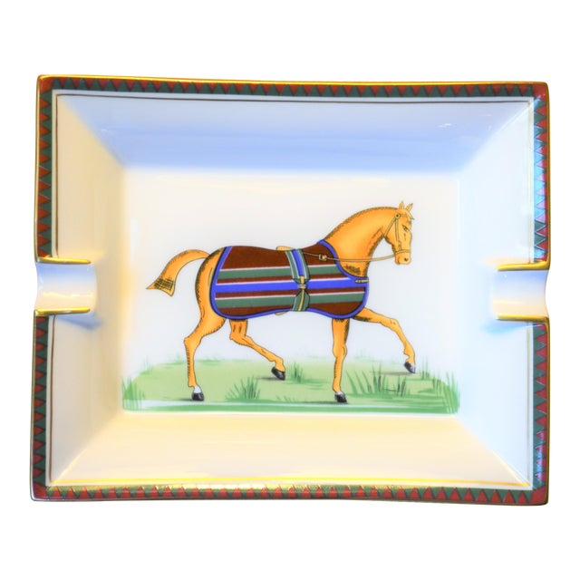 1970s Vintage Hermes Striped Equestrian Cigar Tray For Sale