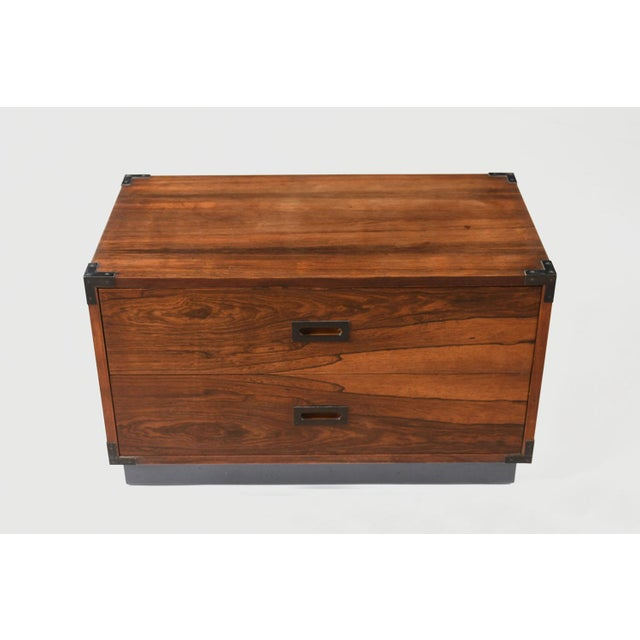 Pair of Campaign-Style Rosewood Chest of Drawers For Sale - Image 4 of 9