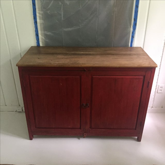 Red Farm Style 2 Piece Pine China Cabinet For Sale - Image 4 of 11