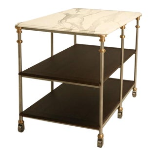 Customizable Stainless Steel and Bronze Kitchen Island For Sale