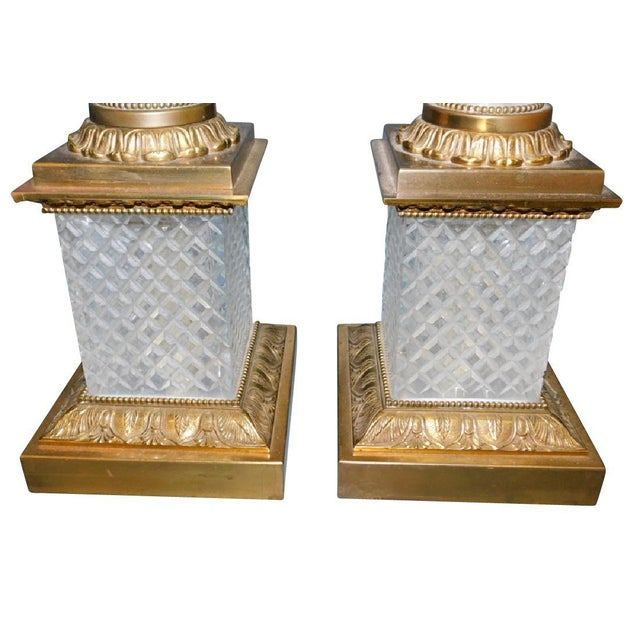 Fine Pair of French cut-crystal and ormolu lamps most probably French circa 1950's