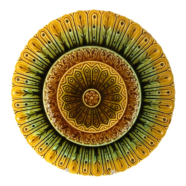 French Majolica Flower Plate For Sale
