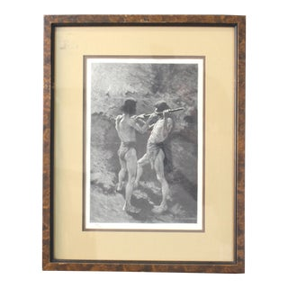 "Late 19th Century Antique Original ""Mexican Miners at Work"" Frederic Remington Wood Engraving Print For Sale"
