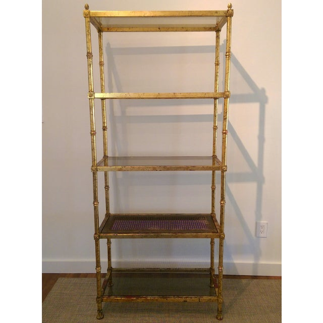 Maison Jansen Hollywood Regency Metal & Glass Etagere - Image 3 of 7
