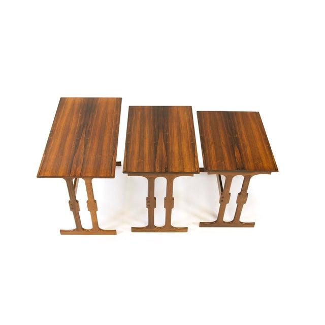 Danish Modern Cfc Silkeborg Rosewood Nesting Tables From Denmark - Set of 3 For Sale - Image 3 of 10