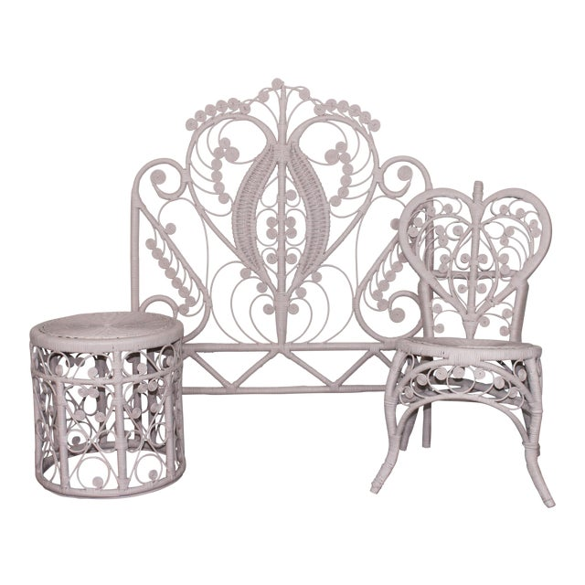 Pink Victorian Curlicue Wicker Twin Bedroom Set - 3 Pc. Set For Sale