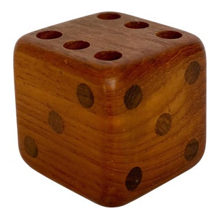 1970s Sigvard Nilsson Sowe-Konst Teak Dice Pencil Holder For Sale