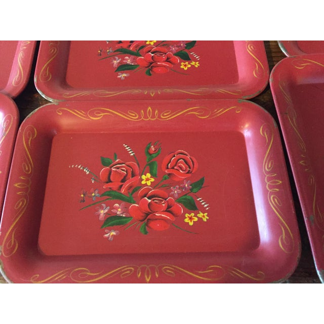 Red Rose Tole Trays - Set of 11 - Image 4 of 7